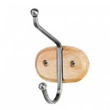 Крючки хром на деревянной планке 1(1х) 9см