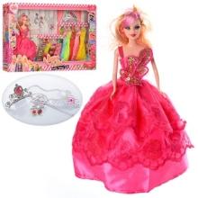 Кукла с нарядом 28см,платье 9шт,корона,колье,серьги,волш.палочка,в кор-ке,65-35-6,5см